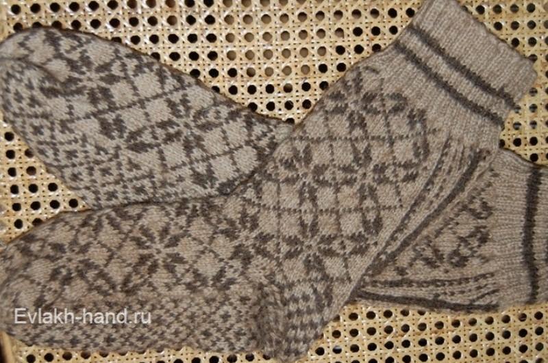 Вязание спицами - носки мужские со скандинавским орнаментом